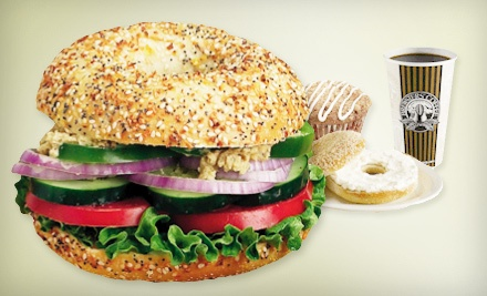 1 Dozen Bagels, 2 Tubs of Cream Cheese, and 2 Brewed Coffees or 2 Fountain Drinks - Big Apple Bagels in De Pere