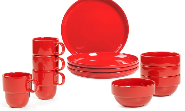 Stax Living Stackable Red Dinnerware Collection 4-Piece Sets of Stax Living Stackable Red ...  sc 1 st  Groupon & Stackable Red Dinnerware Sets | Groupon Goods