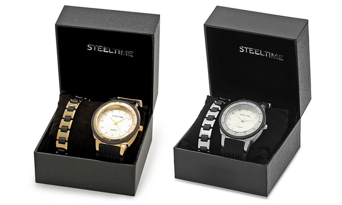 Men S 18k Gold Plated Or Silvertone Watch And Bracelet Set