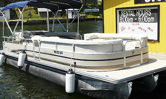 Captain Mike Fink's Marina and AAA Party Cove Boat & PWC Rentals - Multiple Locations: Two- or Four-Hour Rental of a 12-Passenger Luxury Tritoon Boat (Half Off). Two Locations Available.