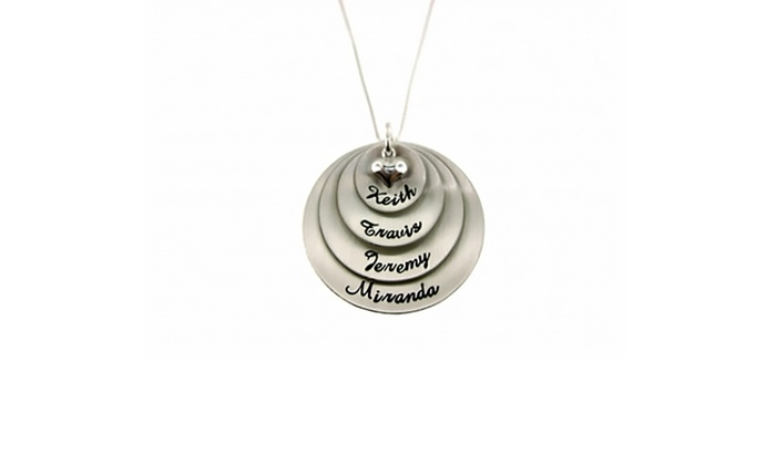 Hannah Design: $37.99 for a Personalized Super Mom Four-Tier Round-Pendant Necklace in Sterling Silver from Hannah Design ($79 Value)