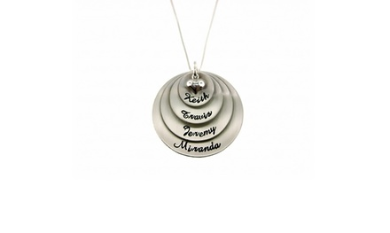 Personalized 4-Tier Round Pendant in Sterling Silver from Hannah Design