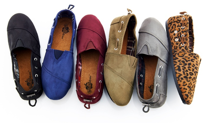 Apple Bottom Dracoy Faux-Suede Flats: $11.99 for Apple Bottom Dracoy Faux-Suede Flats ($35 List Price). Multiple Colors Available. Free Returns.