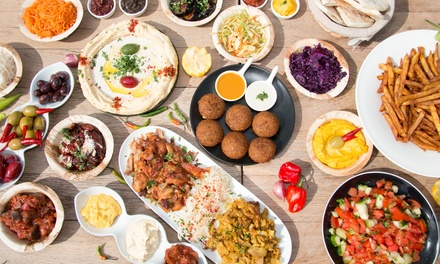 Turkish Mezze Platter with Warm Bread and Wine for Two or Four at AĞA Mezze Palace (55% Off)