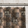 Jungle Patchwork Shower Curtain With 12 Matching Roller Hooks