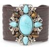 Leather Cuffs with Genuine Semi-Precious Stones