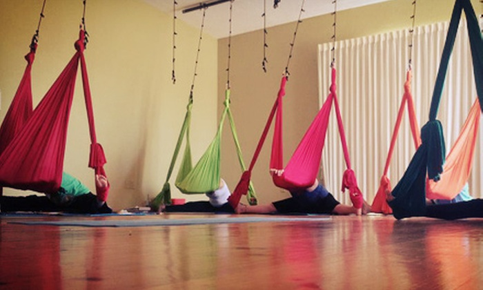 Circusoul Productions - Multiple Locations: Three or Six Aerial Yoga Classes at Circusoul Productions (56% Off)