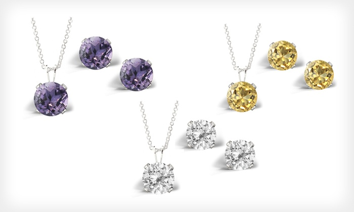 Gemstone Pendant-and-Earrings Set: $12.99 for a 3-Carat Gemstone Solitaire Pendant-and-Earrings Set ($75 List Price). Six Options Available. Free Returns.