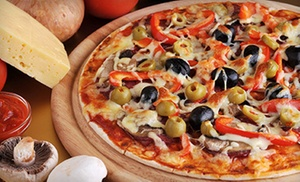 Straw Hat Pizza Quail Lakes Dr.: $14 for a Large Pizza with One Appetizer and Two Drinks for Two at Straw Hat Pizza (Up to $29.86 Value)
