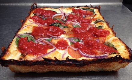 Deep Dish Pizza And Cheese Bread Detroit Style Pizza Company 3 Locations Groupon