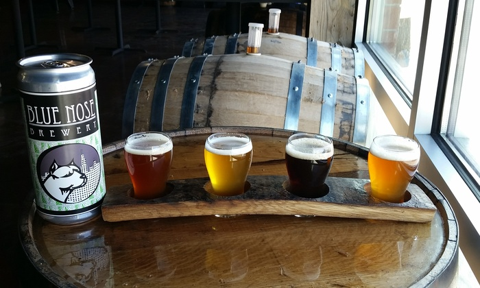 Blue Nose Brewery - Hodgkins: Brewery Package for 2 or 4 with Beer Flights, Tour, and 32-oz Crowlers at Blue Nose Brewery (Up to 49% Off)