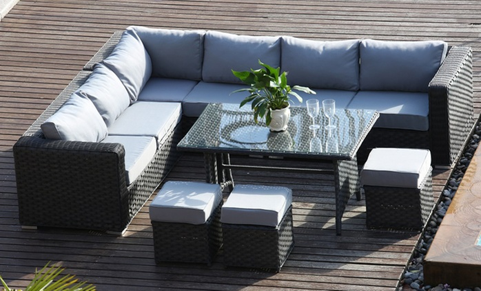 Yakoe Papaver Corner Eight-Seater Sofa with Coffee Table for £549.98 or Dining Table for £629.99 With Free Delivery