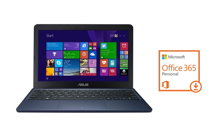 Groupon Goods: ASUS Refurbished 11.6-in. EeeBook Laptop with 1 Year of Office 365 Personal (Shipping Included)