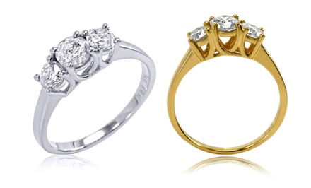 1.00 CTTW 3-Stone Diamond Ring in 14K White or Yellow Gold. Sizes 6, 7, and 8 Available.
