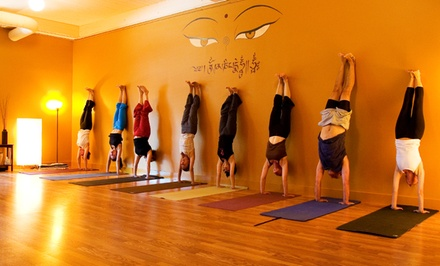 One Month of Unlimited Classes or 10-Class Pass at Dharma Yoga and Dharma Yoga East Side (Up to 69% Off)