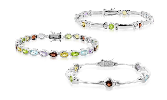 Sterling Silver Gemstone Bracelets: Sterling Silver Gemstone Bracelets (Up to 81% Off). Multiple Styles Available. Free Shipping and Returns.