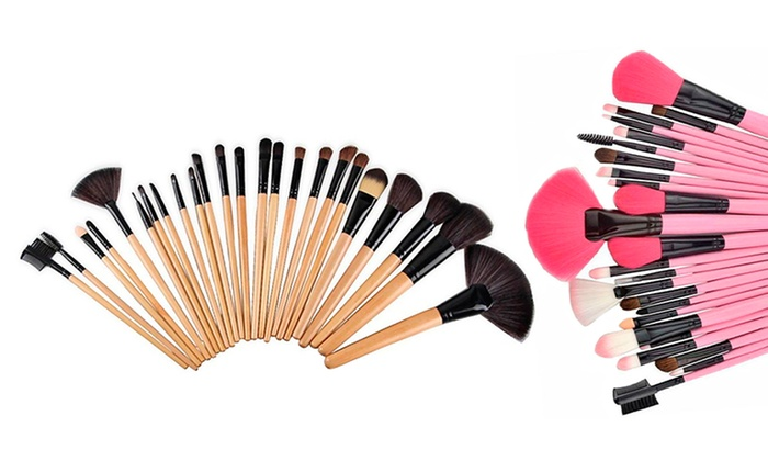Makeup Brush Kit in Creme or Pink with Vegan-Leather Case (24 Piece)