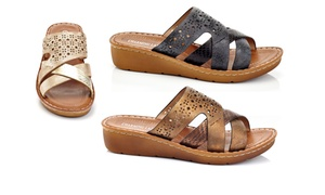 Women's Casual Slip-on Comfort Multi-Strap Wedge Sandals