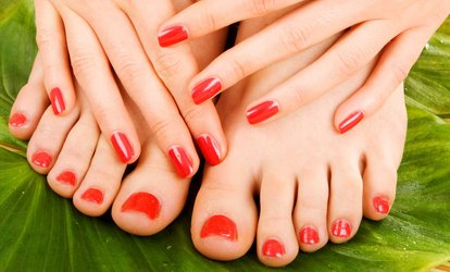 Traditional or Gel Manicure and Pedicure with Optional Paraffin Treatment at Siren Palace Beauty Salon (Up to 66% Off)