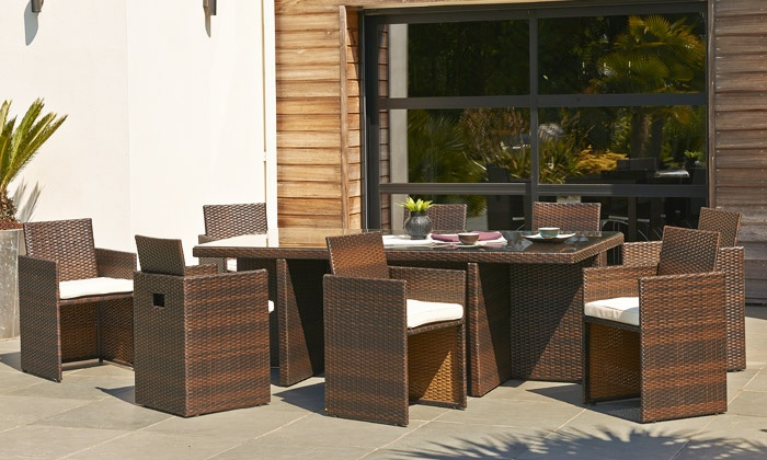 salon de jardin encastrable 6 ou 8 places en r sine tress e groupon. Black Bedroom Furniture Sets. Home Design Ideas