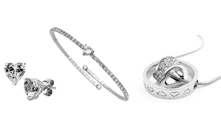 Three-Piece 18ct White Gold Jewellery Set with Swarovski Elements for AED 59 (80% Off)