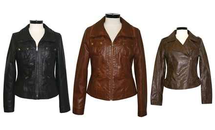 Women's Faux-Leather or Softshell Jackets. Multiple Styles Available from $29.99–$39.99.