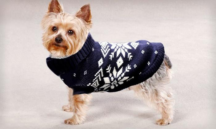 Unique Petz Nordic Pet Sweaters: $7 for a Unique Petz Nordic Pet Sweater in S–L ($29.99 List Price). Seven Colors Available. Free Returns.