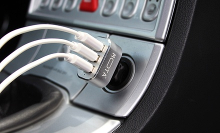 MOTA High-Speed 3-Port 5.1-Amp USB Car Charger for Tablets and Smartphones