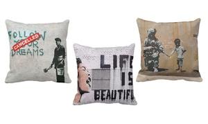 Banksy Street Art Throw Pillow