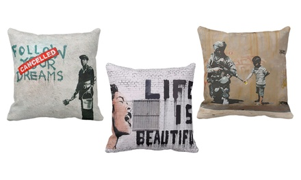 Banksy Street Art Throw Pillow
