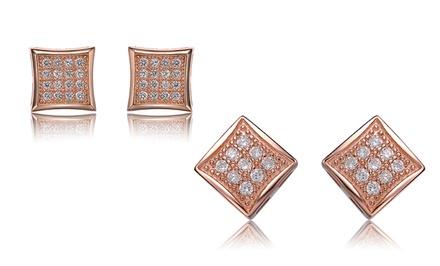 18-Karat Rose Gold and Created Diamond Stud Earrings