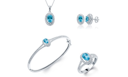 0.04 CTTW Gemstone and Diamond 4-Piece Set. Multiple Options Available.