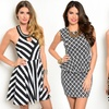 Black-and-White Women's Graphic Print Dresses