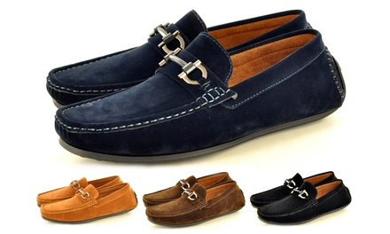 Men's Faux Suede Casual Loafers with Buckle