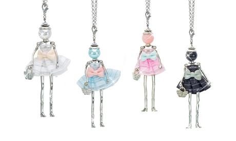 Collana Dolls con perla e tessuto. Vari colori disponibili