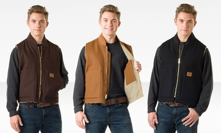 Skechers Men's Sherpa Lined Vest in Black, Brown, or Mustard.