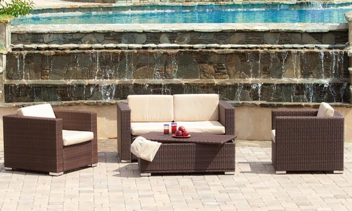 Westlake Wicker 4-Piece Outdoor Sofa Set: Westlake Brown Wicker 4-Piece Outdoor Sofa Set
