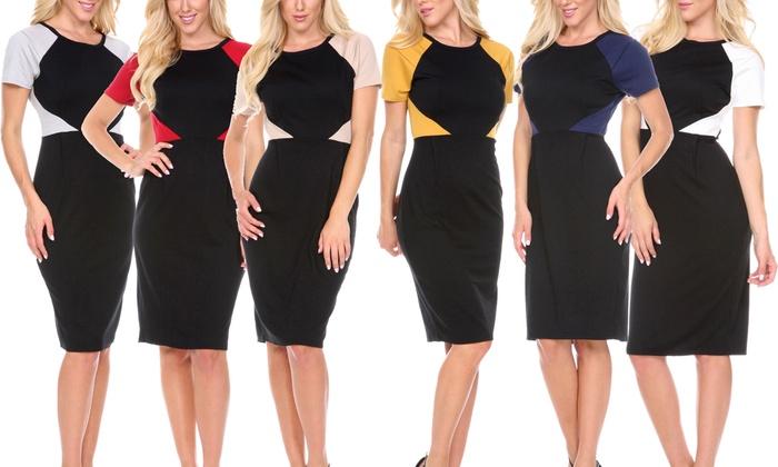 Women's Colorblock Bodycon Dress