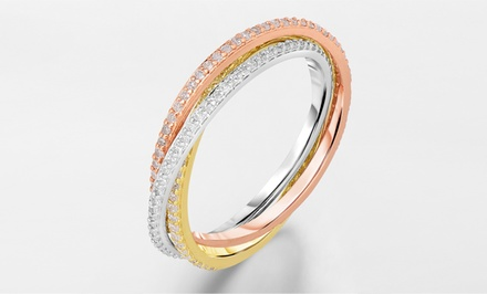 3/4 CTTW Diamond 3-Tone Rolling Eternity Ring in 14-Karat Gold