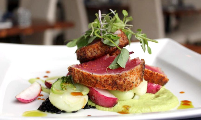 Thrive - Downtown: Three-Course Internationally Inspired Dinner with Wine for Two or Four at Thrive (Up to 58% Off)