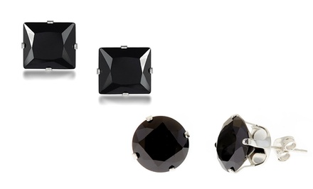 Black Swarovski Elements Stud Earrings