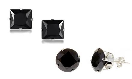 Black Swarovski Elements Stud Earrings