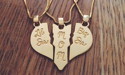 Personalized Broken Heart Trio Pendant Set from Jewelryudesign (3-Piece)