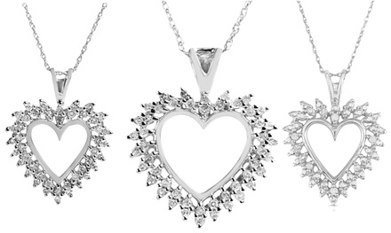 Genuine Diamond Heart Pendants in Sterling Silver or 10K White Gold