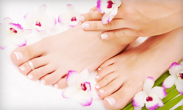 Studio 393 Hair & Nail Salon - Calgary: Spa Mani-Pedi for One or Two or a Spa Manicure with Shellac at Studio 393 Hair & Nail Salon (Up to 57% Off)