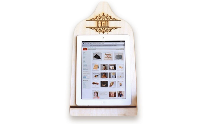 Morgann Hill Designs: One or Two Personalized Wood Tablet Stands from Morgann Hill Designs (Up to 60% Off)
