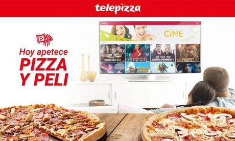 1 pizza mediana o familiar y 1 película con Telepizza (hasta 56% de descuento)