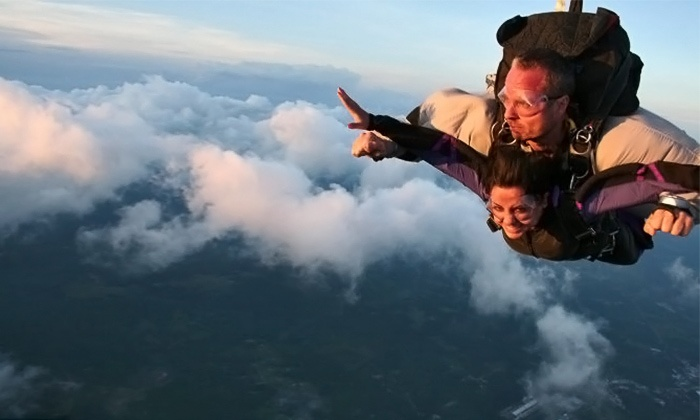 No Limits Skydiving - Multiple Locations: $209 for Tandem Skydiving Experience with Souvenir Video and T-Shirt at No Limits Skydiving ($295 Value)