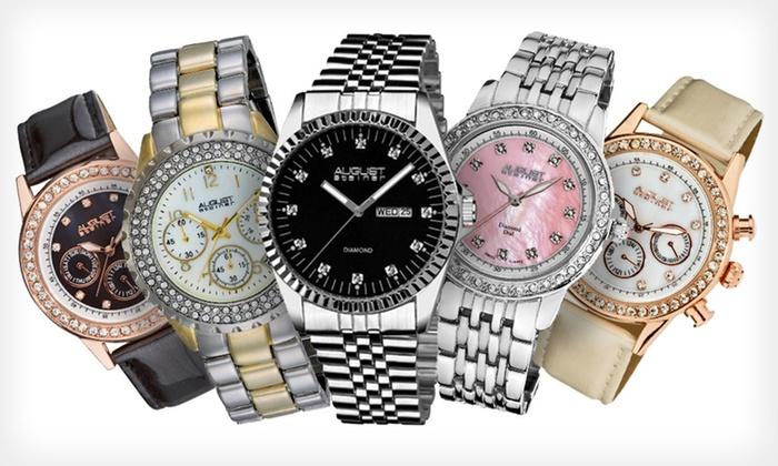 August Steiner Men's & Ladies' Diamond Classics Watches: August Steiner Men's and Ladies' Diamond Classics Watches (Up to 90% Off). 16 Styles Available. Free Shipping and Free Returns.