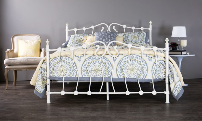 Victorian Style Ivory Metal Queen Bed Frame